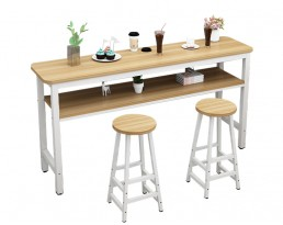 Bar Table Set 1+2 with compartment - Light Wooden Table with White Legs (Double)