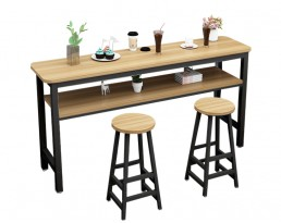 Bar Table Set 1+2 with compartment - Light Wooden Table with Black Legs (Double)