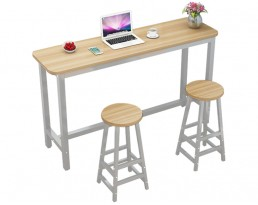 Bar Table Set 1+2 - Light Wooden Table with White Legs (Single)