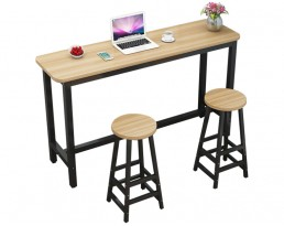 Bar Table Set 1+2 - Light Wooden Table with Black Legs (Single)