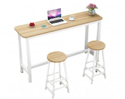 Bar Table Set 1+2 - Light Wooden Table with White Legs
