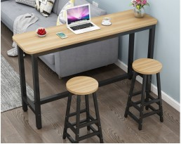 Bar Table Set 1+2 - Light Wooden Table with Black Legs