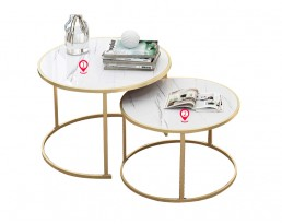 Coffee Table E5069/E5070 2 in 1 Table Set - Marble Printed & Gold Leg