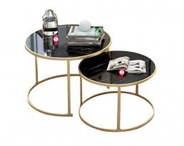 Coffee Table E5069/E5070 2 in 1 Table Set - Black & Gold Leg