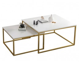 Coffee Table E5185 - White & Golden Legs