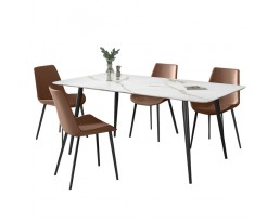 Dining Table Set (Marble printed table + A83 Brown Chair )