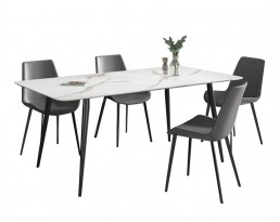 Dining Table Set (Marble printed table + A83 Grey Chair )