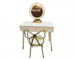 Dressing Table with LED Light H26 - White with Gold