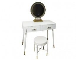 Dressing Table with LED Light - Type 26 - White/Lght Wooden