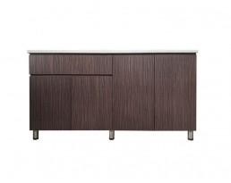 (L)Kitchen Cabinet 4 Door (Dark  Brown/Wood Brown)