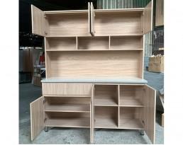 Kitchen Cabinet 4 Door+Top - Wood Brown
