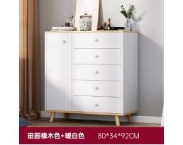 (Pre-order) Multifunction Cabinet DG0014 80cm - White/Dark Brown