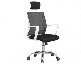 Office Chair 880- White Frame Black Mesh