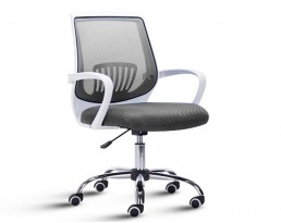Office Chair 882 -White Frame Grey Mesh