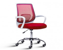 Office Chair 882 -White Frame Red Mesh