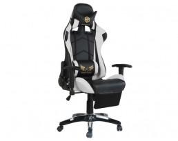 Gaming Chair B with Leg Rest - White