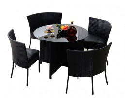 Outdoor Round Table (1+ 4) - Black