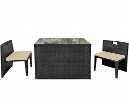 Outdoor Box Table Set (1+ 2) - Black