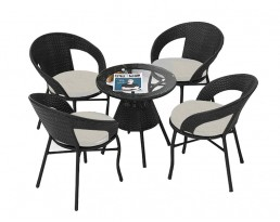 Outdoor Coffee Table Set 510 (1+4) - Black