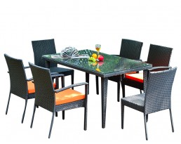 Outdoor Furniture S699 (1+6) - Black