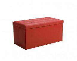 Storage Stool Type B (Rectangular) PU Leather - Red