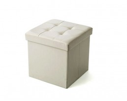 Storage Stool Type B (Square) PU Leather - White
