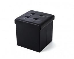 Storage Stool Type B (Square) PU Leather - Black