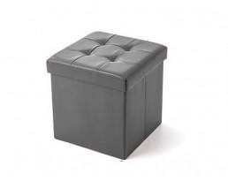 Storage Stool Type B (Square) PU Leather - Grey