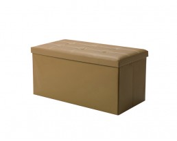 Storage Stool Type B (Rectangular) PU Leather - Khaki