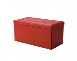 Storage Stool Type B (Rectangular) PU Leather - Red