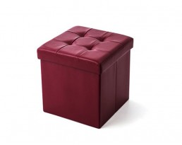 Storage Stool Type B (Square) PU Leather - Red