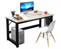 Dacey Study Table with Shelf - Grey Brown with Black Leg
