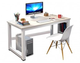 Dacey Study Table with Shelf - Grey Brown with White Leg