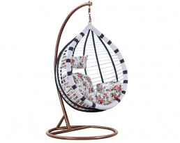 Swing Chair S619 - Black and White with Brown Stand