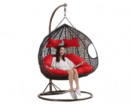 Double Swing Chair S820 - Black with Brown Stand