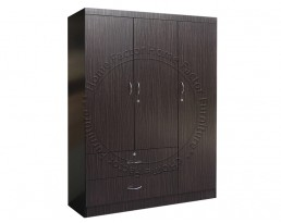 3 Doors Wardrobe - Dark Brown