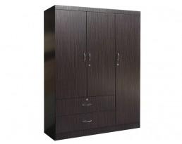 3 Doors Wardrobe - Dark Brown